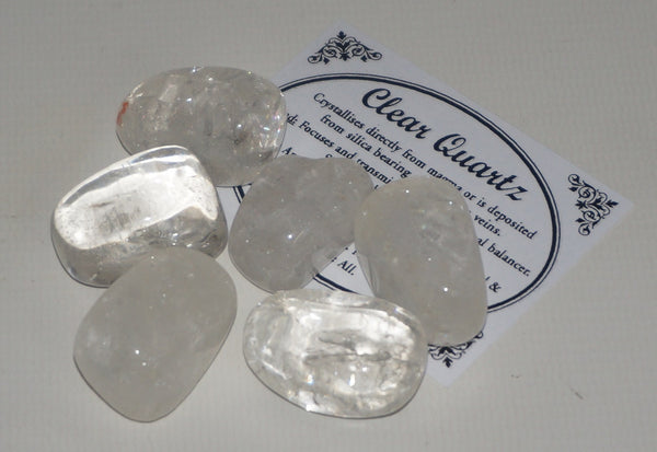 Clear Quartz Crystal Set of Tumbled Stones Smoothed and Polished - 2x3cm