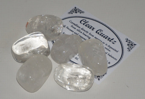 Clear Quartz Crystal Set of 6 Tumbled Stones Smoothed and Polished - 2x3cm