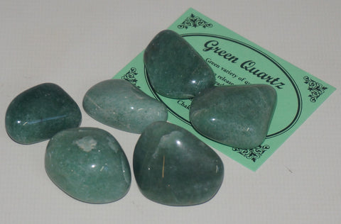 Green Quartz Crystal Set of 6 Tumbled Stones Smoothed and Polished - 2x3cm