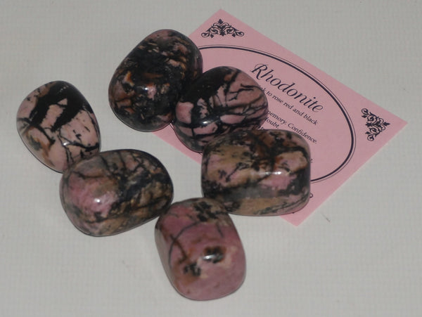 Rhodonite Crystal Set of Tumbled Stones Smoothed and Polished - 2x3cm