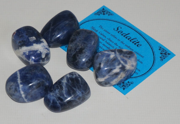 Sodalite Crystal Set of Tumbled Stones Smoothed and Polished - 2x3cm