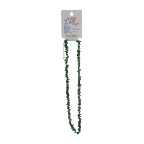Transvaal Jade Crystal Chip Elastic Horoscope Necklace - Star Sign Taurus