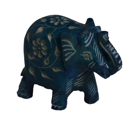 Elephant with Flower Design Figurine Hand Carved Soapstone Turquoise - 6.25cm