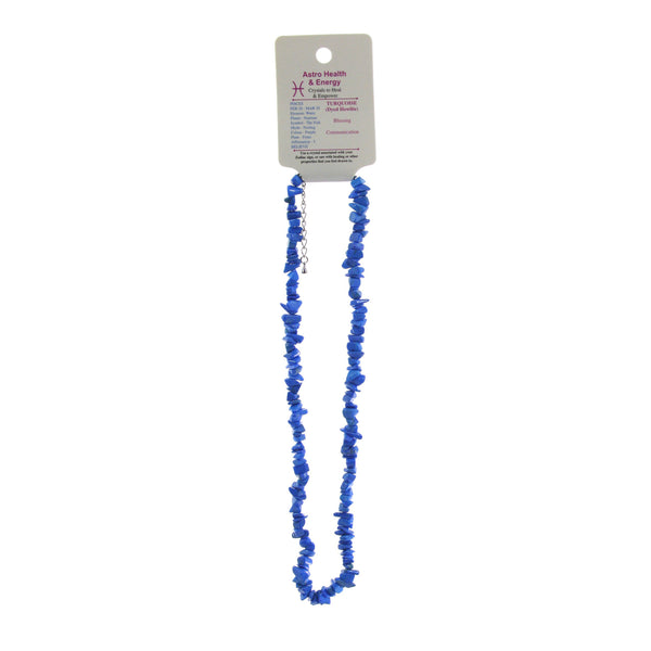 Blue Howlite (Imitation Turquiose) Crystal Chip Elastic Horoscope Necklace - Star Sign Pisces