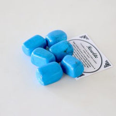 Blue Howlite Crystal Set of 6 Tumbled Stones Smoothed and Polished - 2x3cm