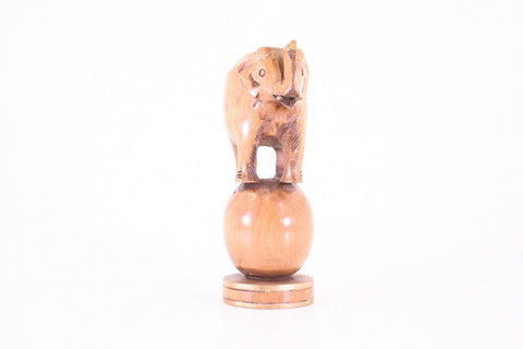 Elephant on Ball Wooden Statue Hand Carved From Thailand - 20cm
