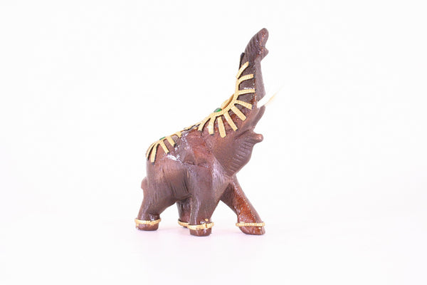 Elephant With Trunk Up Decorated With Gold and Jewels Wooden Statue Hand Carved 7cm
