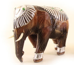 Elephant With Trunk Down Decorated With Silver and Jewels Wooden Statue Hand Carved 7cm
