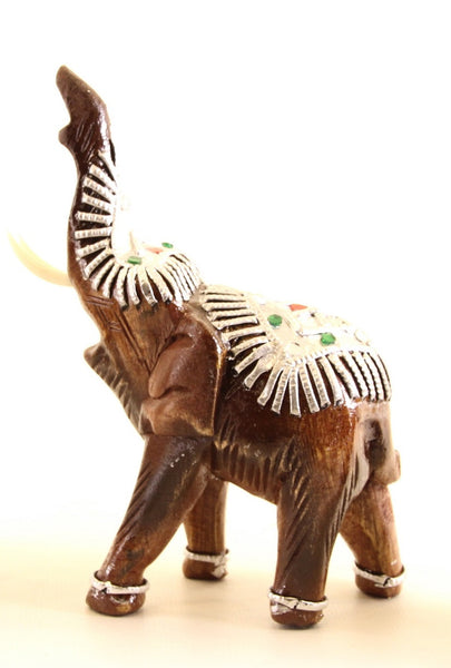 Elephant With Trunk Up Decorated With Silver and Jewels Wooden Statue Hand Carved 7cm