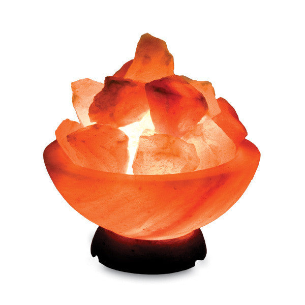 Smooth Fire Bowl With Loose Salt Chunks Himalayan Salt Lamp with Base and Electrical Kit