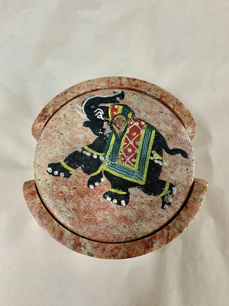 Coaster Set Round Carved Natural Soapstone with Coloured Elephant Design and 6 Coasters