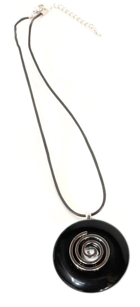 Black Obsidian Crystal Necklace Donut Shape Pendant Shaped and Polished