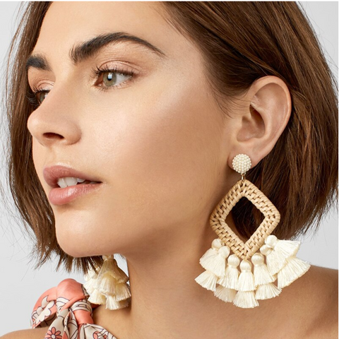 Rattan Statement Earrings - Giften Market