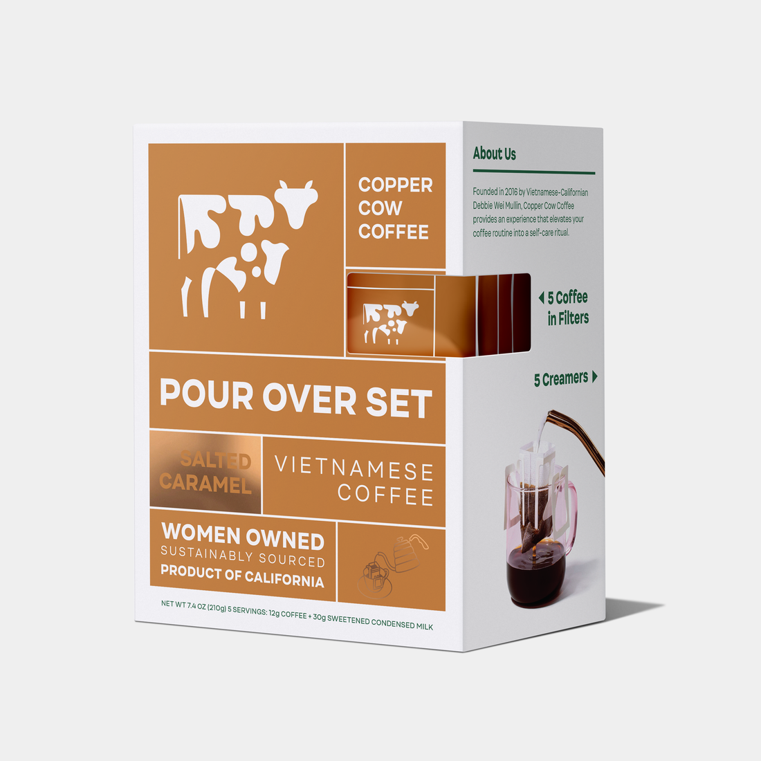 Copper Cow Vietnamese Coffee Pour Over Set - Salted Caramel