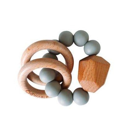 Hayes Silicone + Wood Teether Ring - Grey - Giften Market