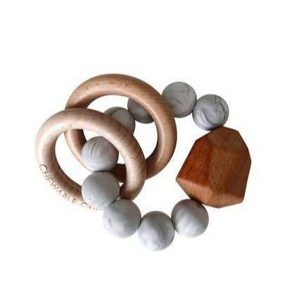 Hayes Silicone + Wood Teether Ring - Howlite - Giften Market