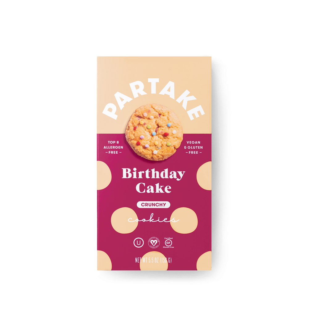 Partake Foods Crunchy Birthday Cake Cookies - Large