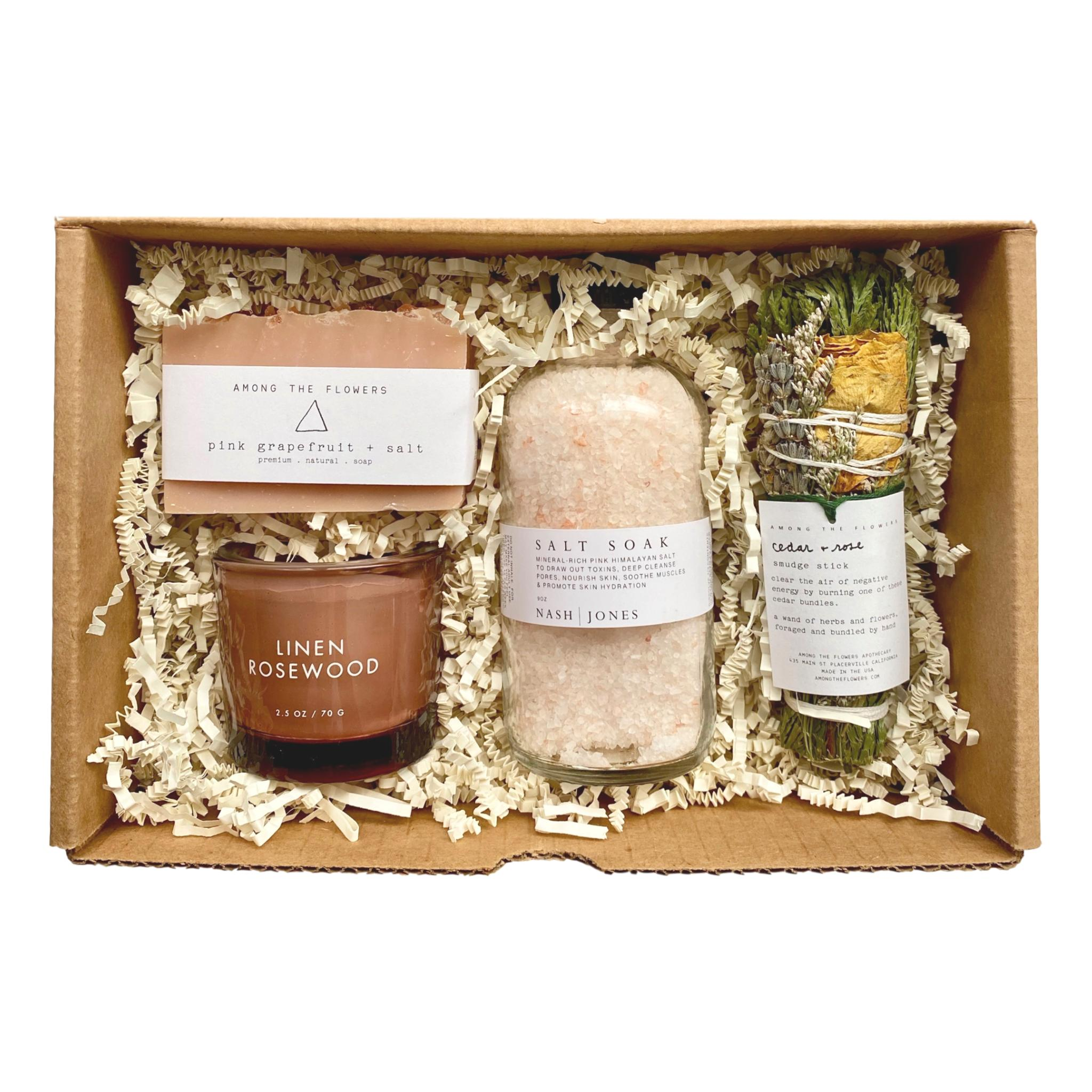 Among the Flowers Pink Rosewood Curated Gift Box - Giften Market