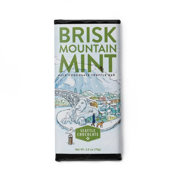 Seattle Chocolate Brisk Mountain Mint Chocolate Truffle Bar - Giften Market