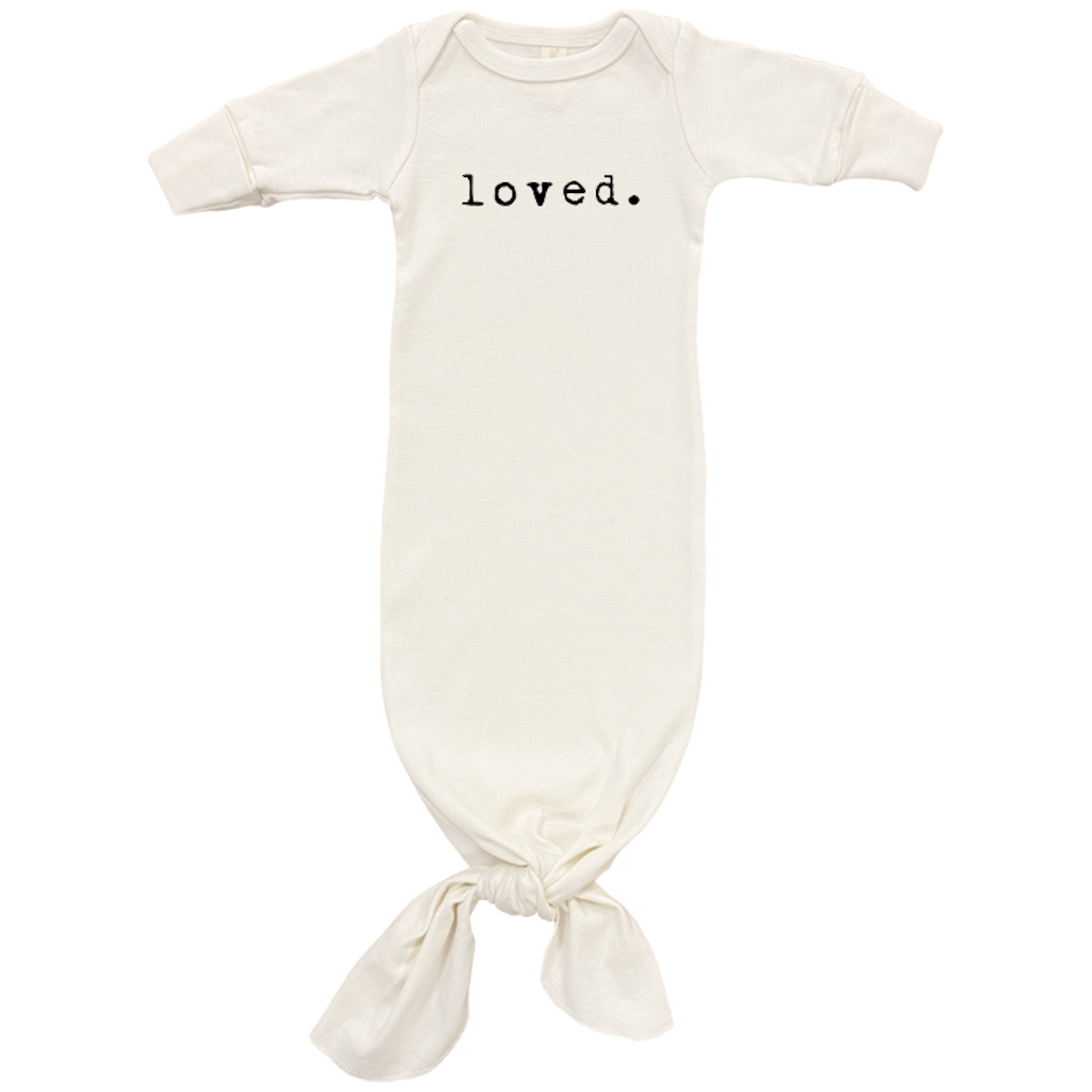 "Tenth and Pine ""Loved."" Long-Sleeve Infant Gown"