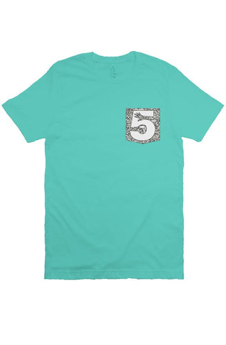 Teal Cement Print Pocket Tee