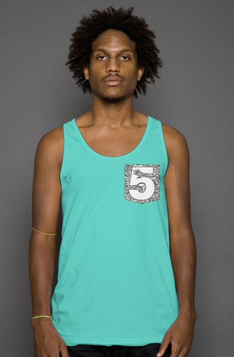 Teal Cement Print Pocket Tank