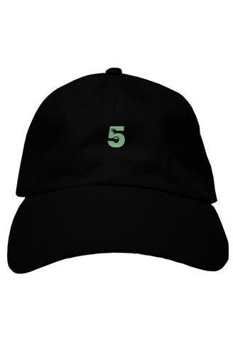 Black Dad Hat with Mint Green Logo