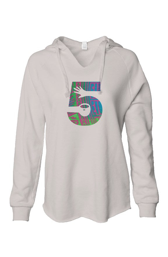 Womens V Neck Hoodie with Cut n Sew Logo in Disco Jungle Fabric