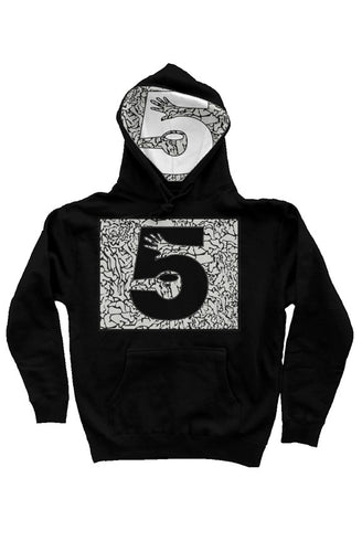 Digital Cement Print Hoodie with Hood Liner