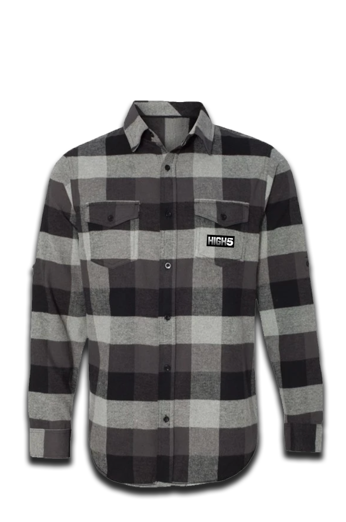 High Five Long Sleeve Flannel Grey / Black