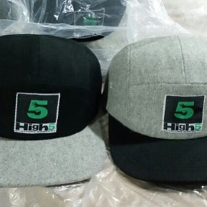 Grey WOOL 5 Panel Strap back Hats ON SALE