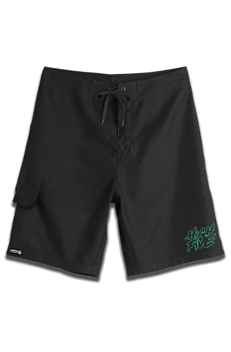 High Five - Mint Green Embroidered Board Shorts