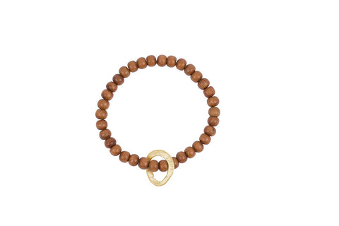 Sandalwood w/Brass Floating Link Bracelet - Site exclusive