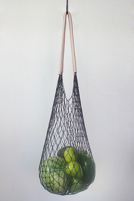 Black net bag, vegetable tanned handles