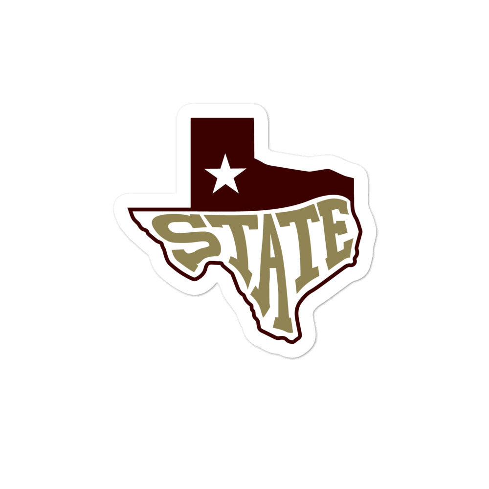 Texas State Sticker - Maroon