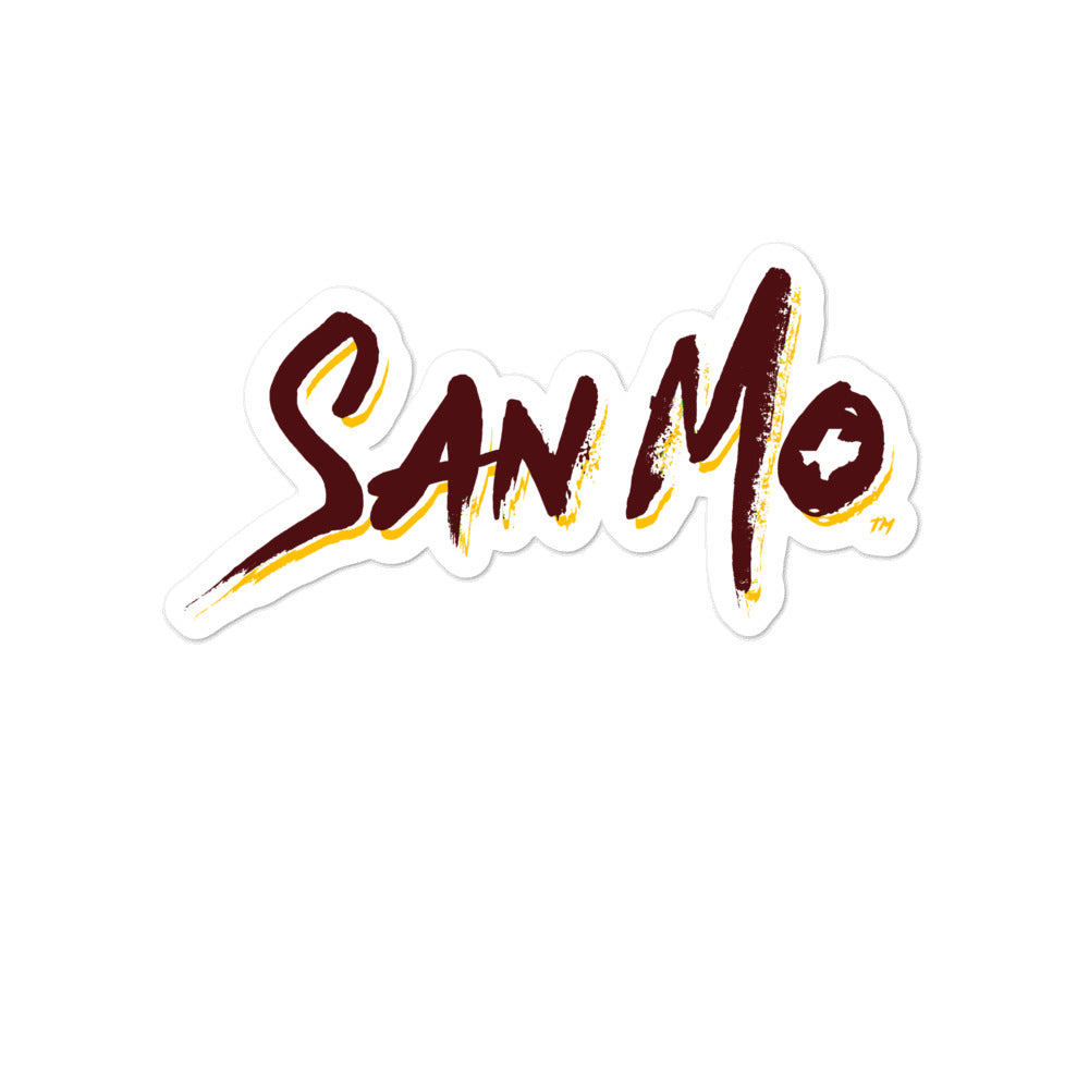 San Mo Sticker - Maroon / Yellow