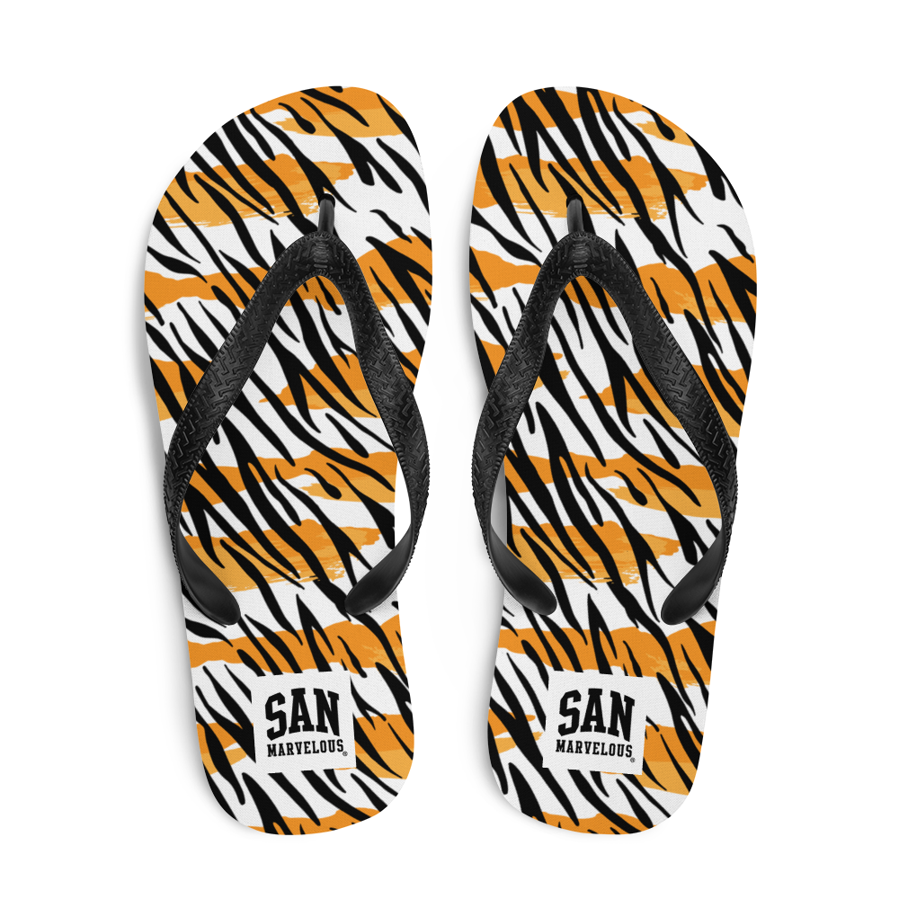 San Marvelous : Tiger Print - All Over Print Flip-Flops