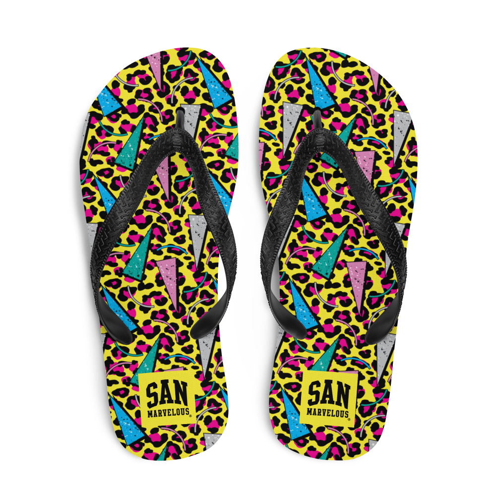 San Marvelous : 80's Leopard - All Over Print Flip-Flops