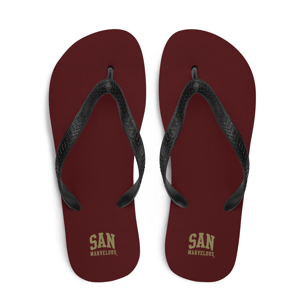 San Marvelous : School Colors - Maroon/Gold All Over Print Flip-Flops