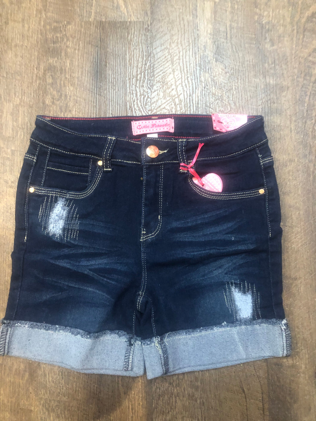 Girls distressed jean shorts