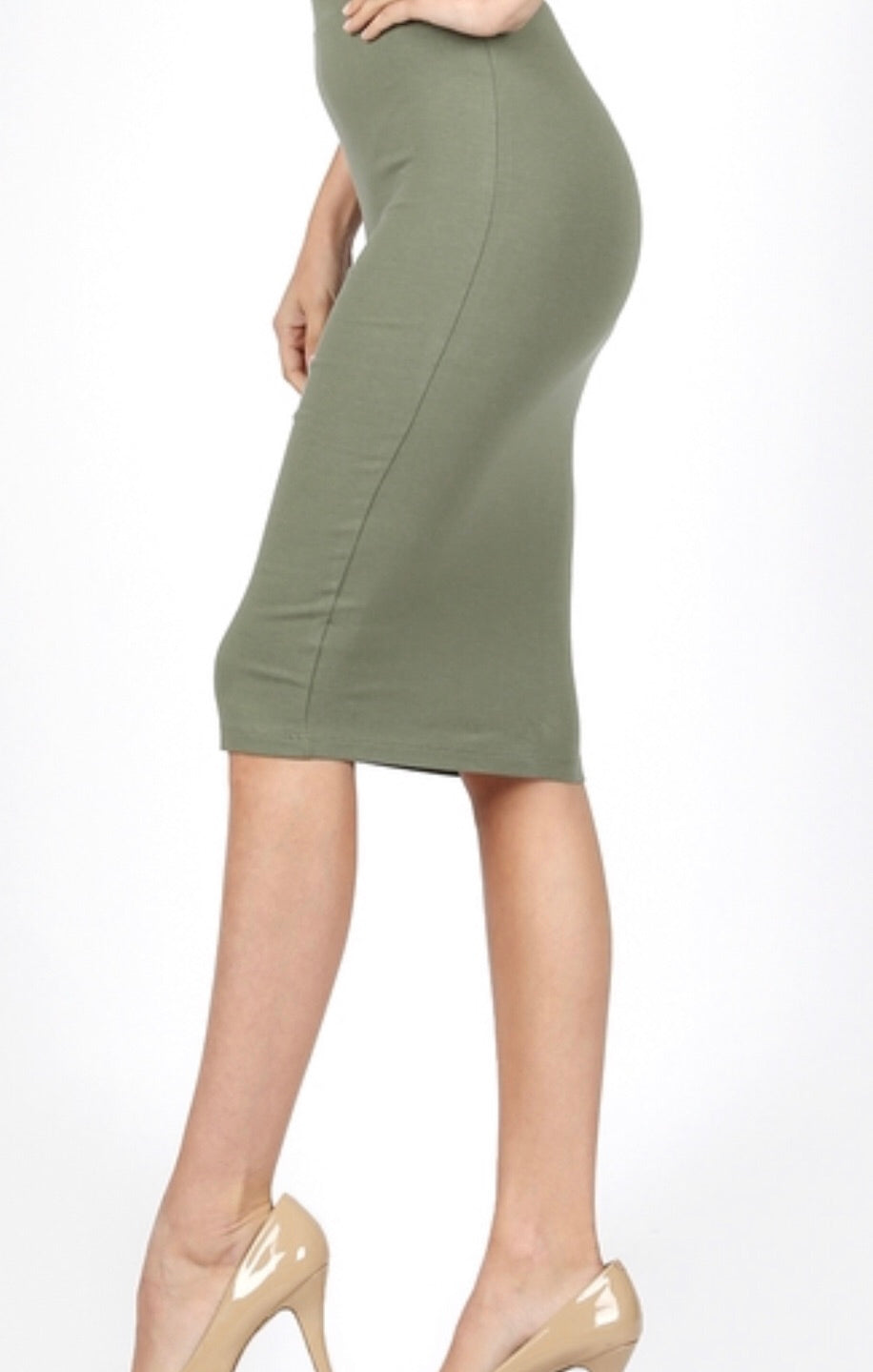 Light Olive Pencil Skirt
