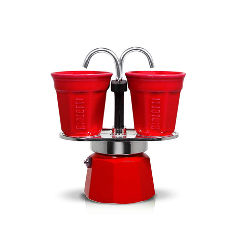 Bialetti Red Moka Mini Express - With 2 Red Espresso Cups