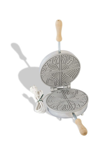 Pizzelle (Waffle) Maker - Round, 4 Section Flower Design - Electric