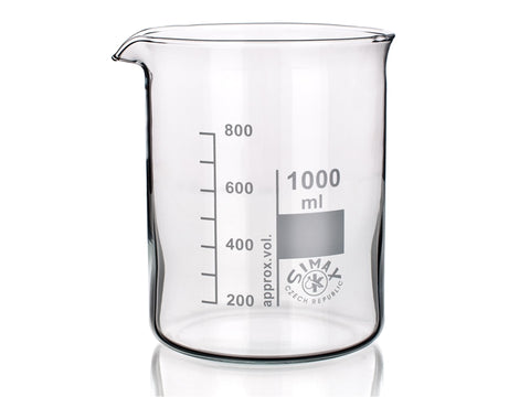 Beaker Glass 1000 ml Low Form 1Lt with 100ml Increments
