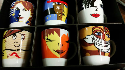 Coffee mugs Faces design