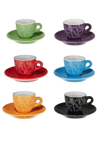 Espresso cups & saucer set 6 multi colored design