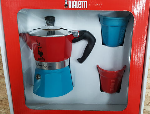 Bialetti Moka Express 3 Cup in Red & Blue - Gift Box