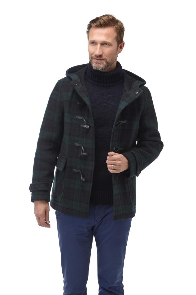 Herren Short Hackney Check Dufflecoat