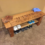 PERSONALIZED Entryway Wood Bench with Shelf