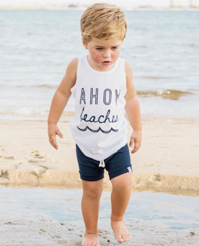 Ahoy Beaches Graphic Tank-Neon Pink or White